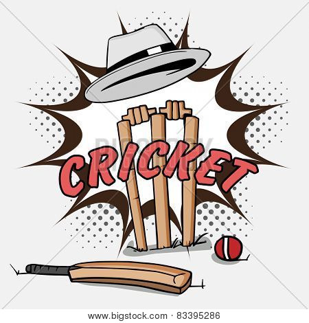 Cricket bat with red ball and wicket stumps under umpire's hat on pop art explosion.