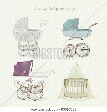 Set of vintage prams on floral background in light colors