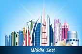 Colorful Cities and Famous Buildings in Middle East. Editable Vector Illustration poster