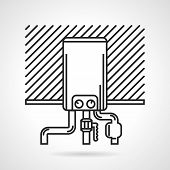 Flat black line vector icon for water boiler for heated floor or other heating on white background. poster