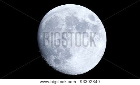 The Moon in an October night sky as seen in the Boreal Emisphere, one day before the Full Moon phase. poster
