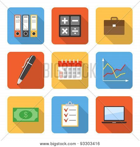 Flat Business Icons With Long Shadows. Vector Illustration