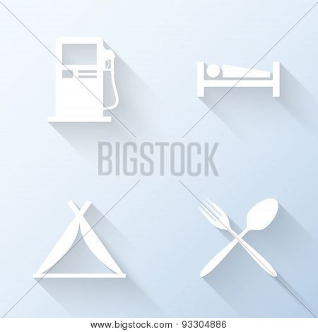 Flat Car Travel Service Icons With Long Shadows. Vector Illustration
