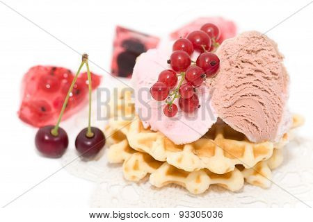Dessert Of Currant, Ise-cream, Cherry And Waffles