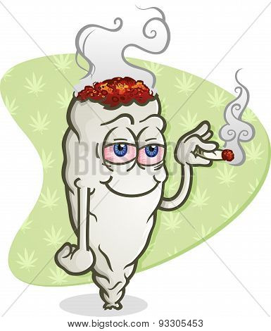 A cartoon joint smoking marijuana, getting high and grinning happily poster
