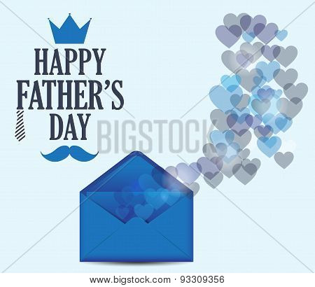 Fathers Day postcard with bokeh hearts on blue background