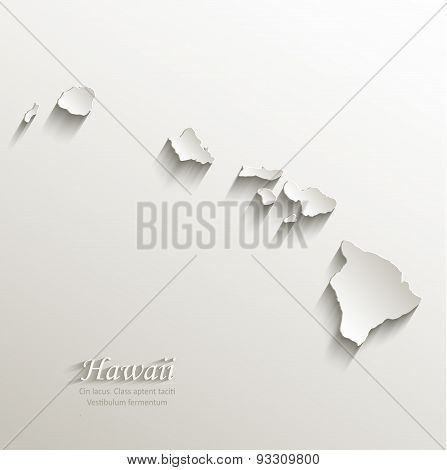 Hawaii map card paper 3D natural vector