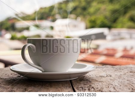 Moning Coffee On Old Wooden Table