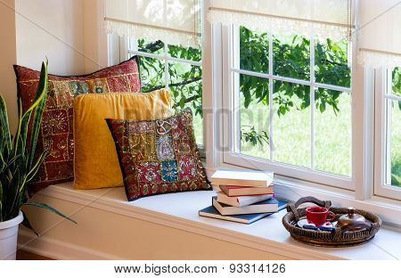 Coffee, Books And Pillows At The Reading Corner