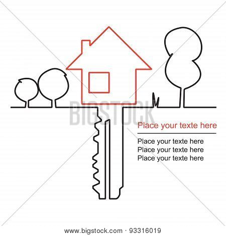House, key and mortgages. Vector design