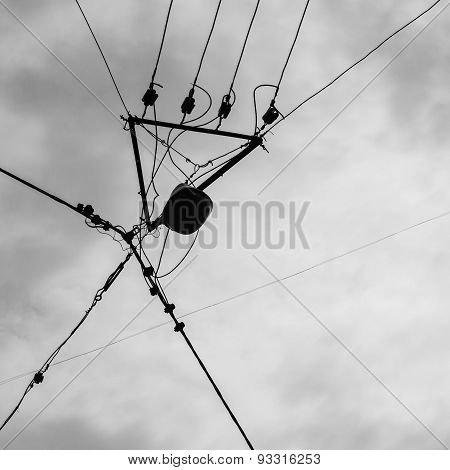 Silhouette Of Electrician Aerial Conductor