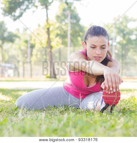 Fitness Young Woman Doing Stretching Exercises