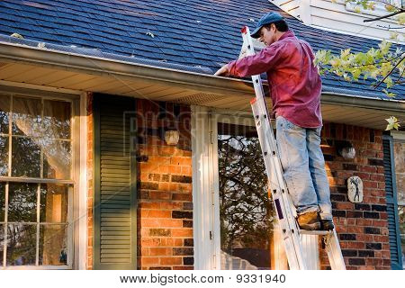Man Cleaning Gutters on a Ladder Against a Brick House poster
