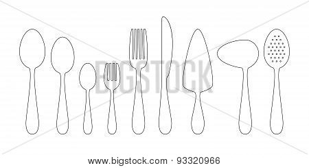 Set Of Thin Line Icons Cutlery