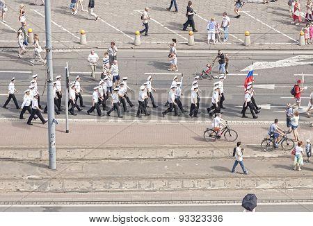 Sedov Sailing Ship Crew Parade.