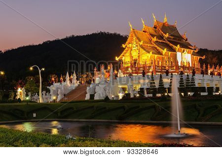 Ho Kum Luang Northern Thai Style Building In Royal Flora Temple (ratchaphreuk)in Chiang Mai,thailand