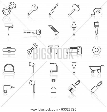Tool Line Icons With Reflect On White