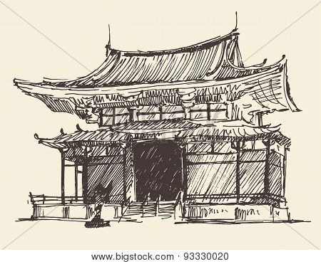 Sketch Chine Japan Landmark Vintage Illustration