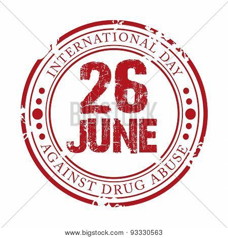 illustration of a grungy stamp for International Day Against Drug Abuse. poster