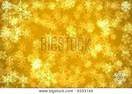 Golden Background With Snowflakers