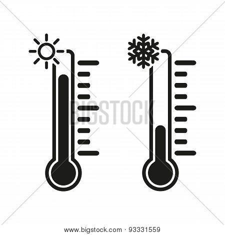 The Thermometer Icon. High And Low Temperature