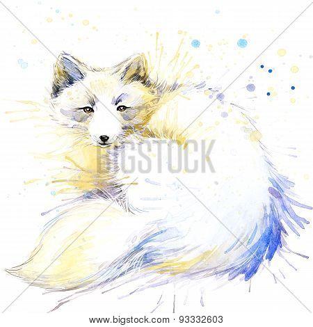 polar fox T-shirt graphics, polar fox illustration with splash watercolor textured background.