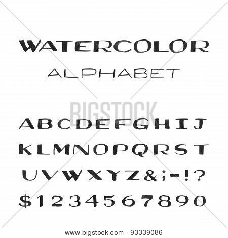 Watercolor Alphabet. Painted Vector Font.
