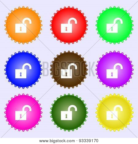 Open Lock Icon Sign. A Set Of Nine Different Colored Labels. Vector