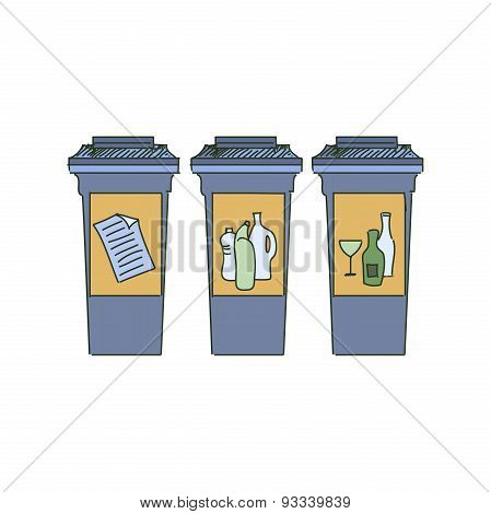 Different Colored Recycle bins, garbage separation with waste icon, illustration of waste management concept poster