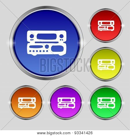 Radio, Receiver, Amplifier Icon Sign. Round Symbol On Bright Colourful Buttons. Vector