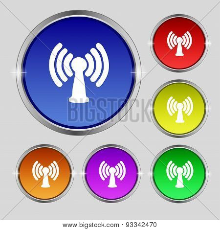 Wi-fi, Internet Icon Sign. Round Symbol On Bright Colourful Buttons. Vector