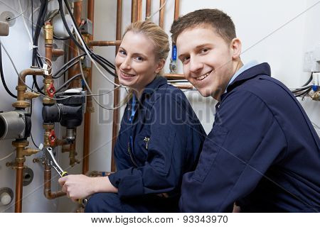 Female Trainee Plumber Working On Central Heating Boiler poster