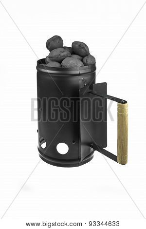 Bbq Grill Coals Flame Starter With  Charcoal Briquettes Isolated