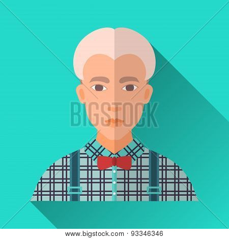 Blonde Hipster Man In Stylish Clothing, Square Flat Icon
