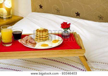 Pancake Breakfast served in Bed