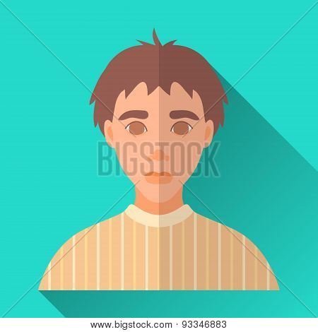 Young Boy In Yellow Pullover, Square Flat Icon