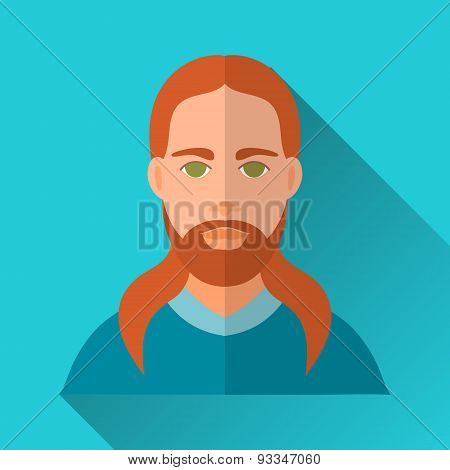 Ginger Long-haired Man With Beard And Moustache, Square Flat Icon