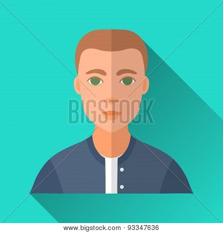 Young Man In A College Bomber, Square Flat Icon