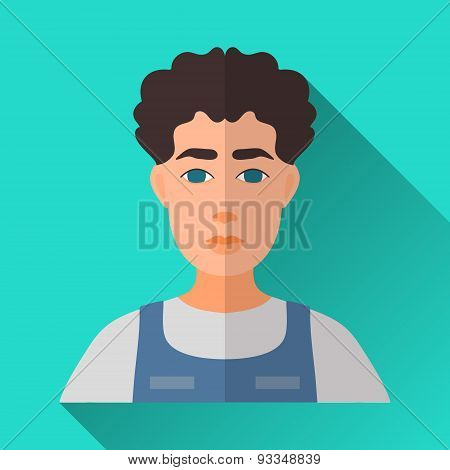 Man With Curly Black Hair, Square Flat Icon