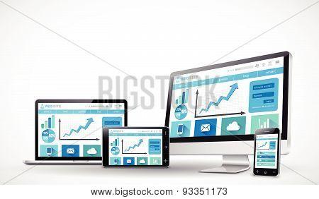 Responsive business web design concept