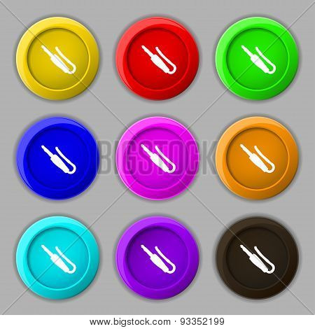 Plug, Mini Jack Icon Sign. Symbol On Nine Round Colourful Buttons. Vector