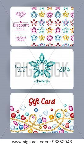 Discount cards with gemstones flowers and chains set. Elegant beautiful colorful backgrounds - jewelry shop design. poster
