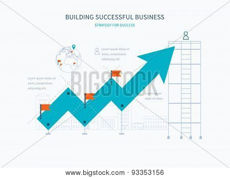 Infographic business arrow shape template design.