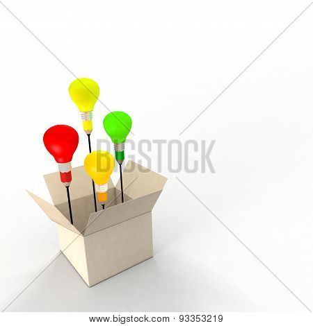 Several ideas emerging from an idea box. Metaphor concept. The light bulbs and pencil refer to ideas and creativity. poster