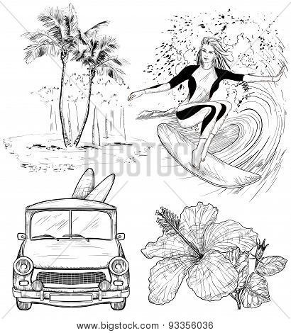 Set of Surfing Design beach style sketches