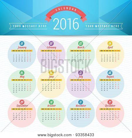 Vector Design Template. Calendar 2016. Week Starts Monday poster