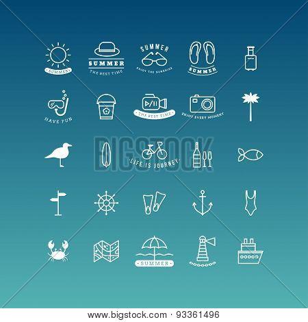 Summer Holidays Vector Icon Set. Line Art Vector Illustration