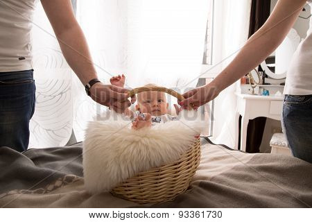 Newborn Baby In The Basket.