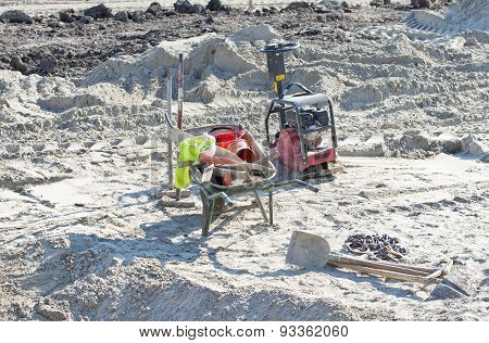 Construction machine and equipment left at construction site