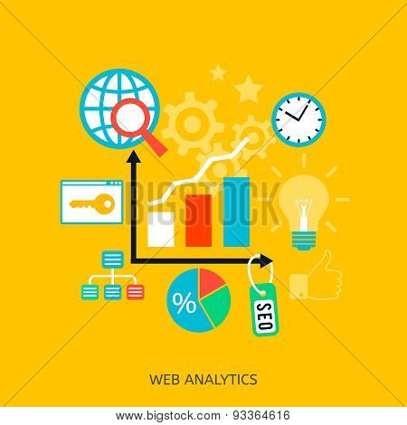 SEO optimization icons. Web development, internet marketing, web design, tags, target strategy, analysis poster